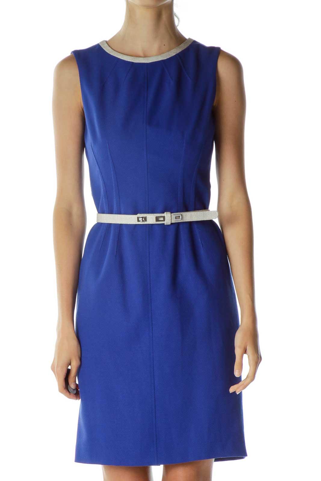 Blue Belted Sheath Dress
