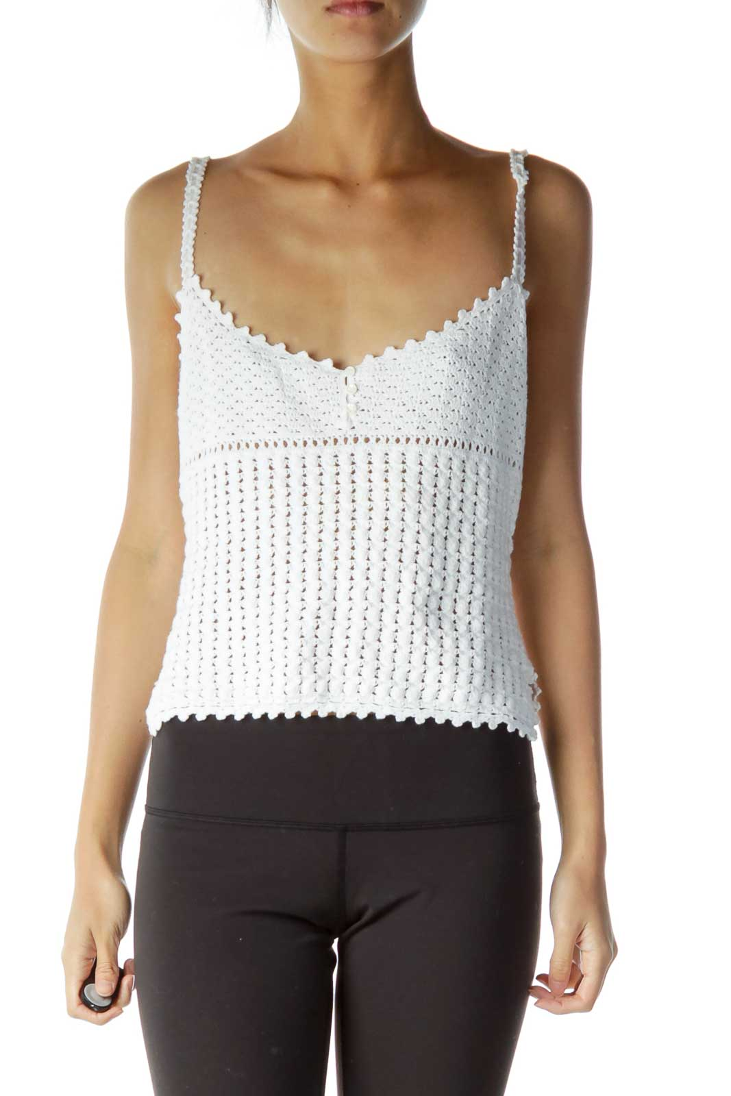 White Crocheted Cropped Top