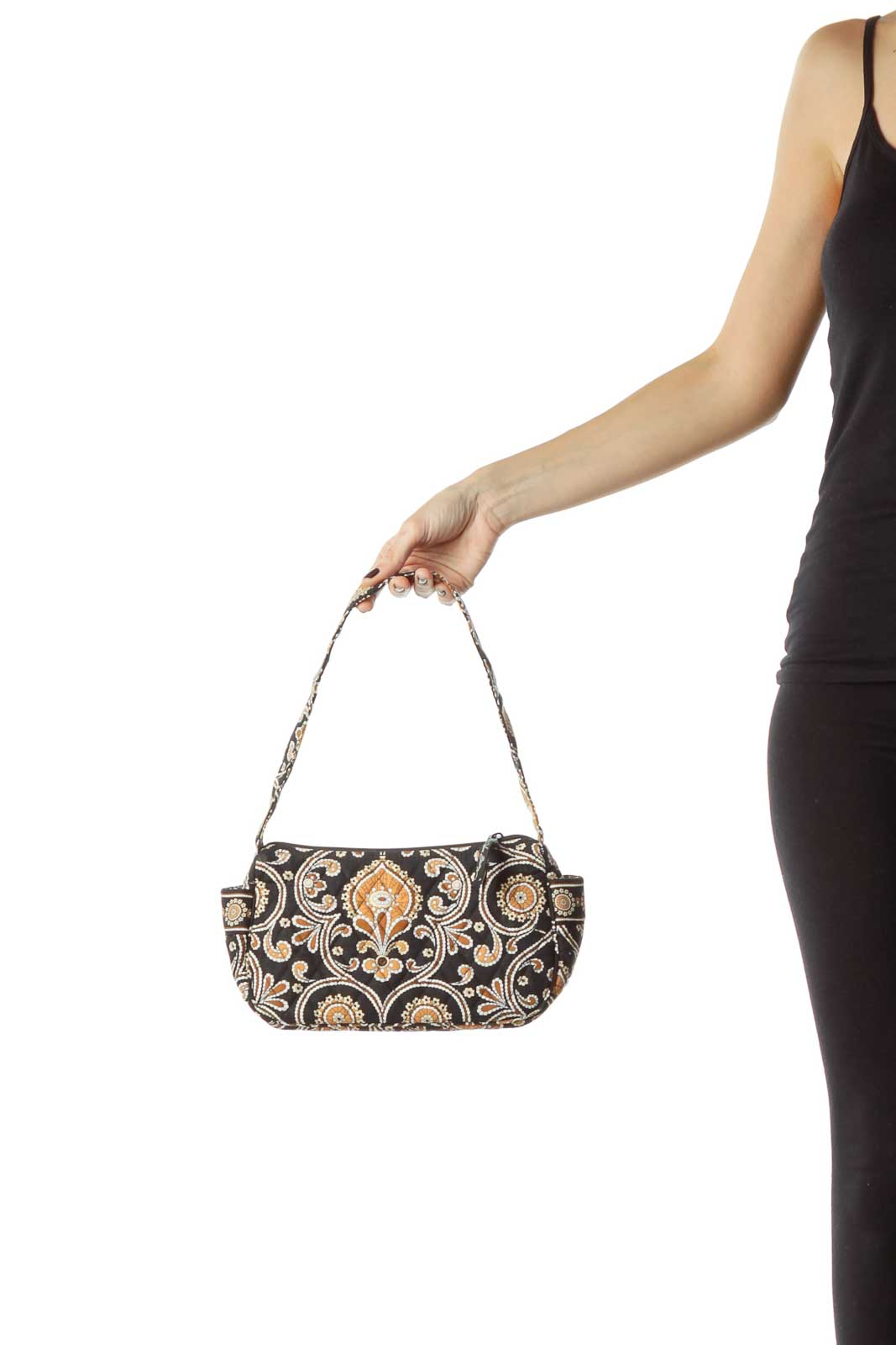 Black Brown Paisley Mini Shoulder Bag
