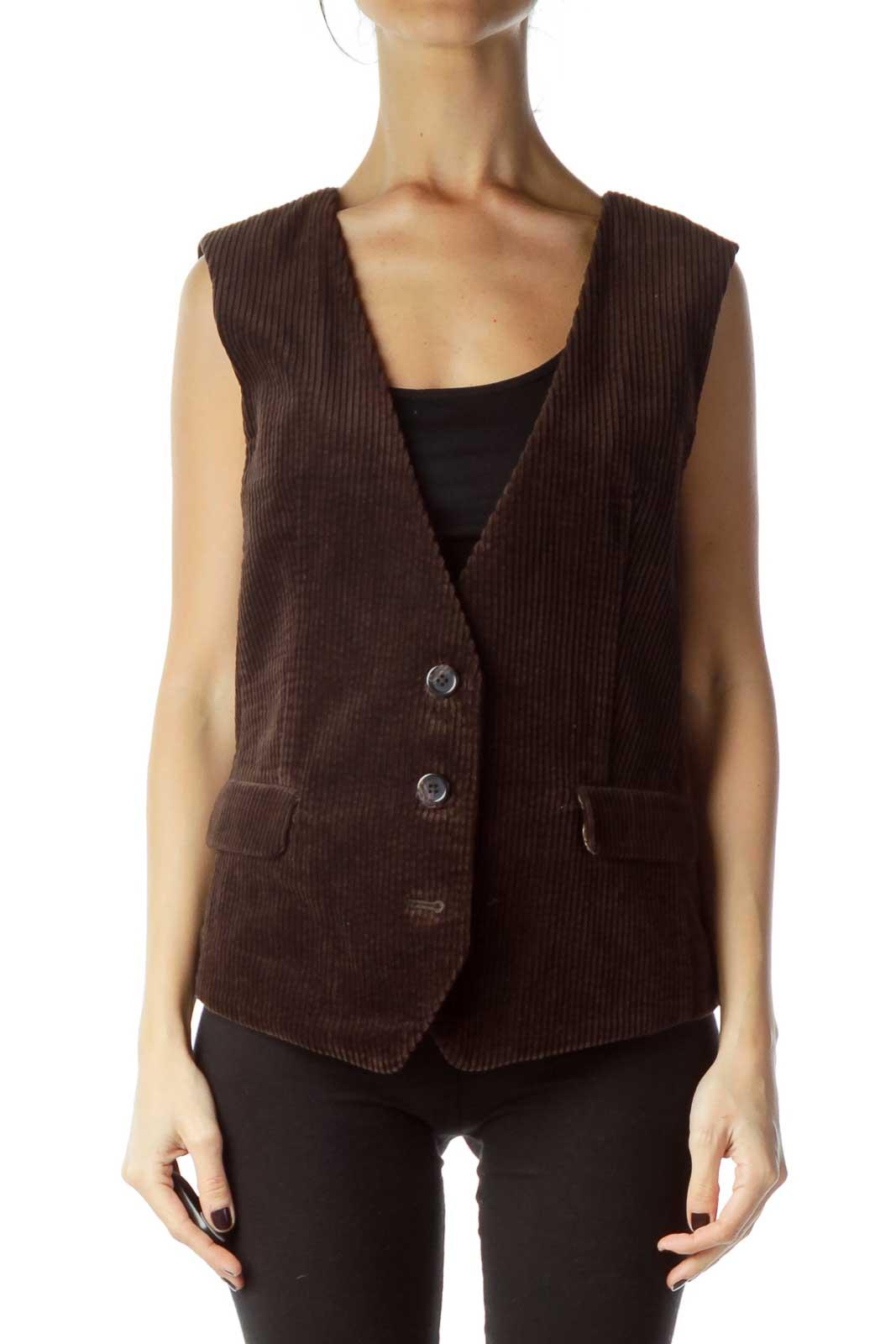 Brown Corduroy Velvet Vest