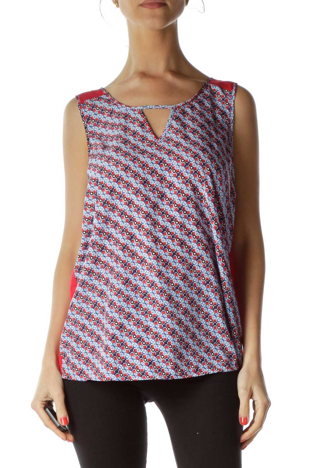 Blue Red Printed Sleeveless Blouse