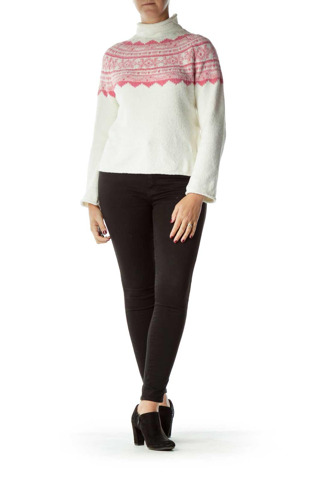 Beige Argyle Print Sweater