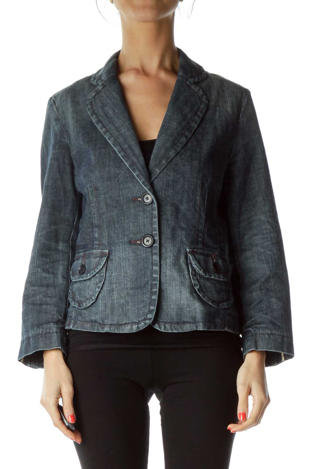 Blue Denim Buttoned Jacket