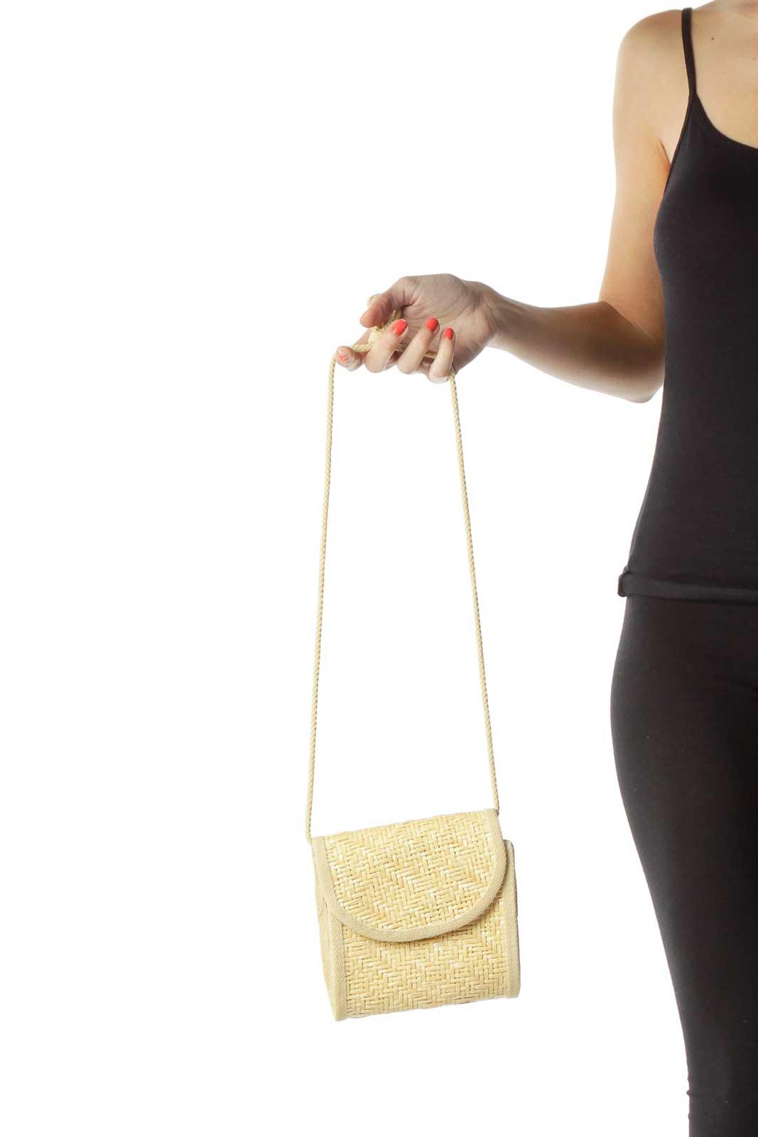 Beige Straw Crossbody Bag