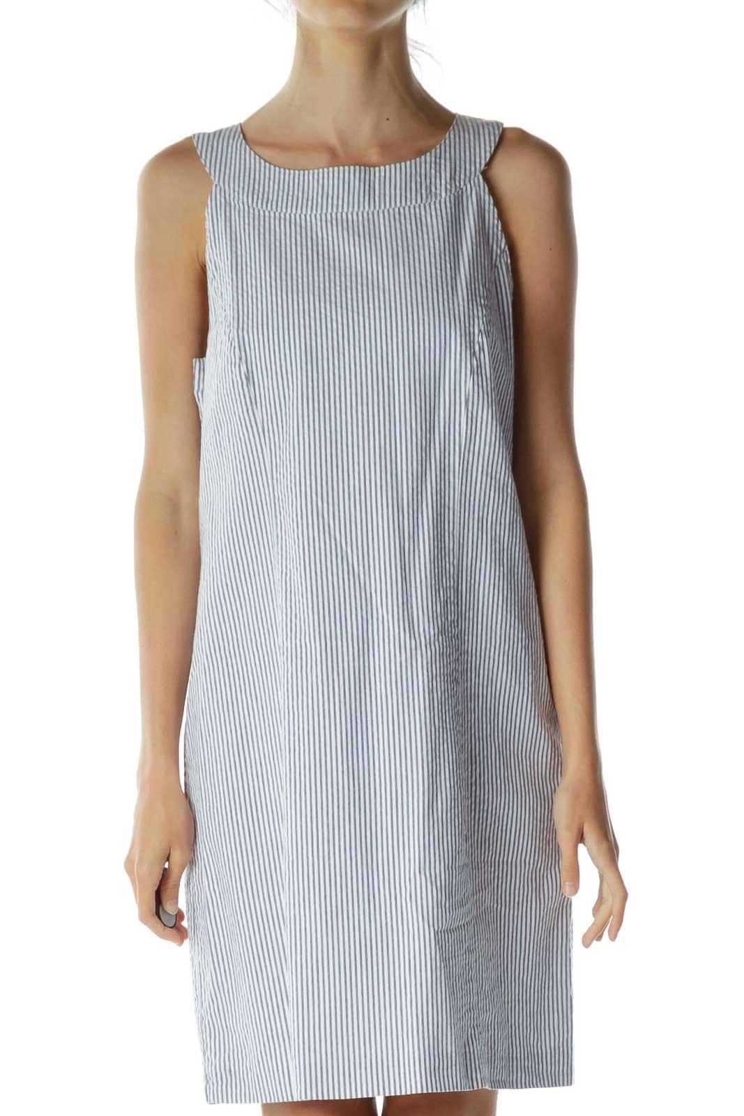 Blue White Pinstripe Shift Dress