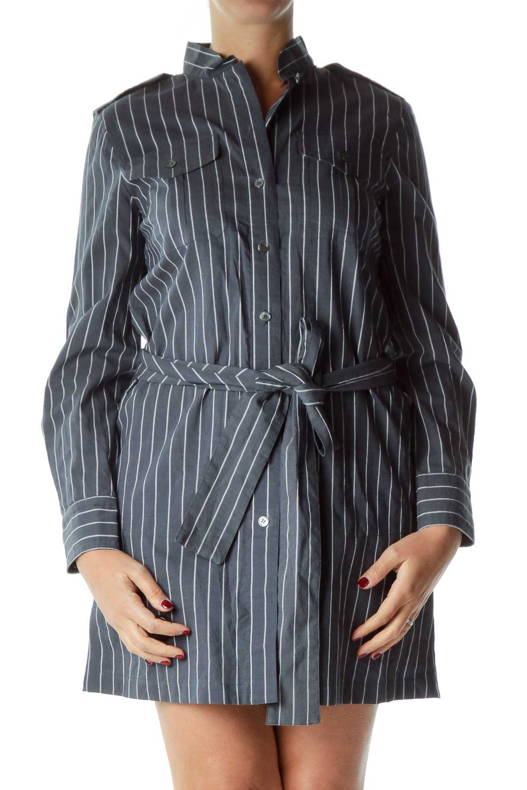 Blue White Pinstripe Shirt Dress