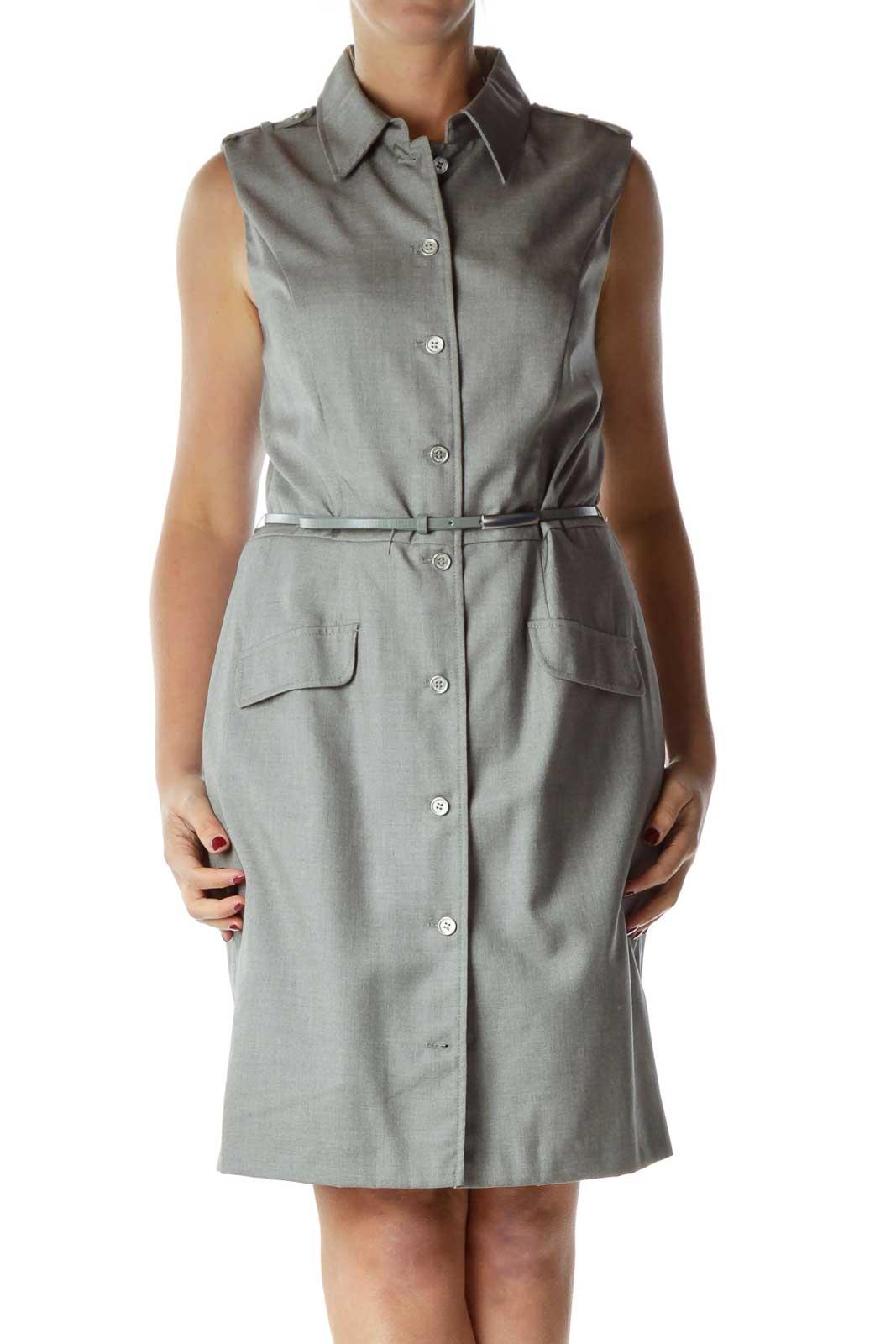 Gray Sleeveless Buttoned Work Dress