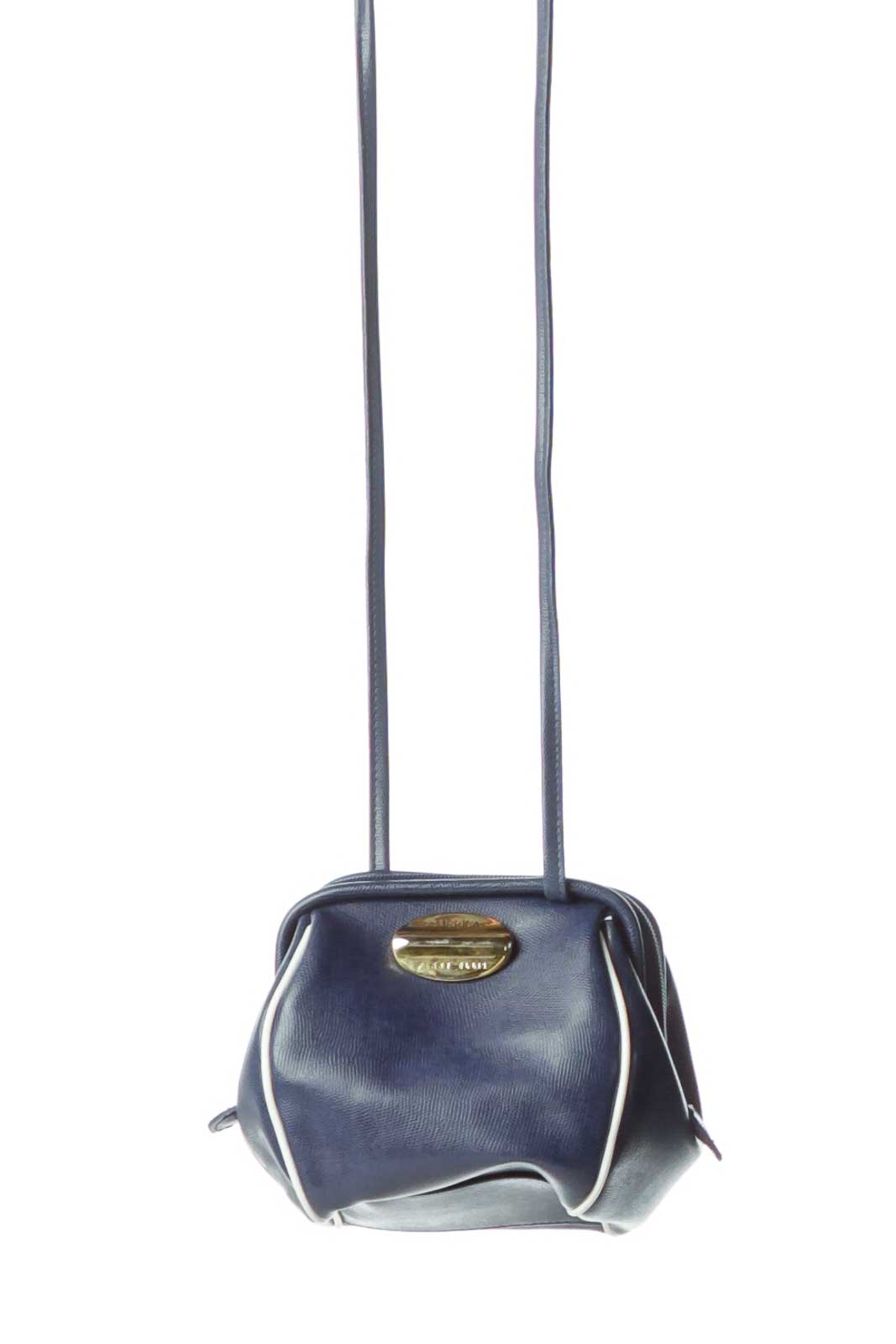 Blue Leather Long Crossbody Bag