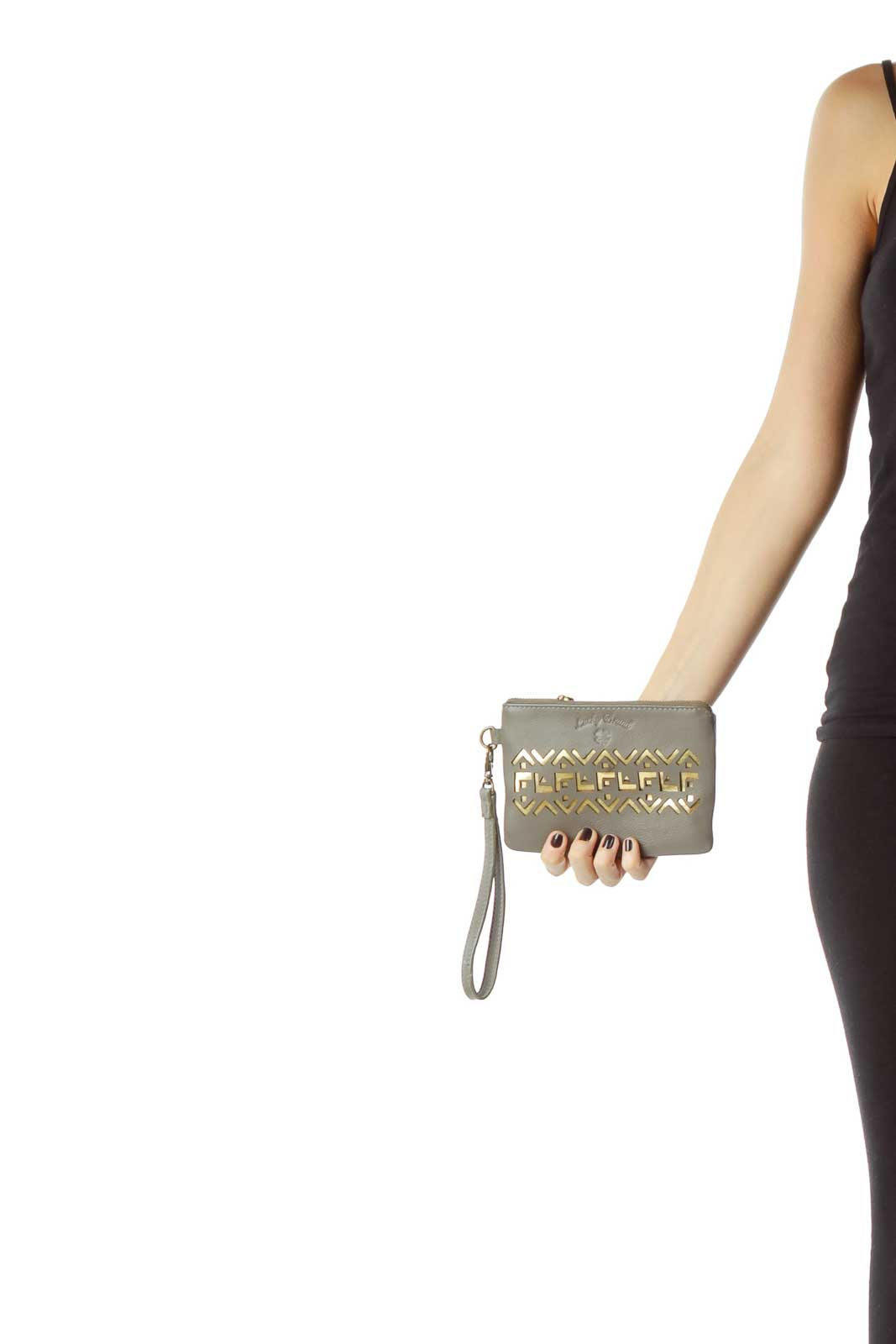 Gray Gold Trim Wristlet