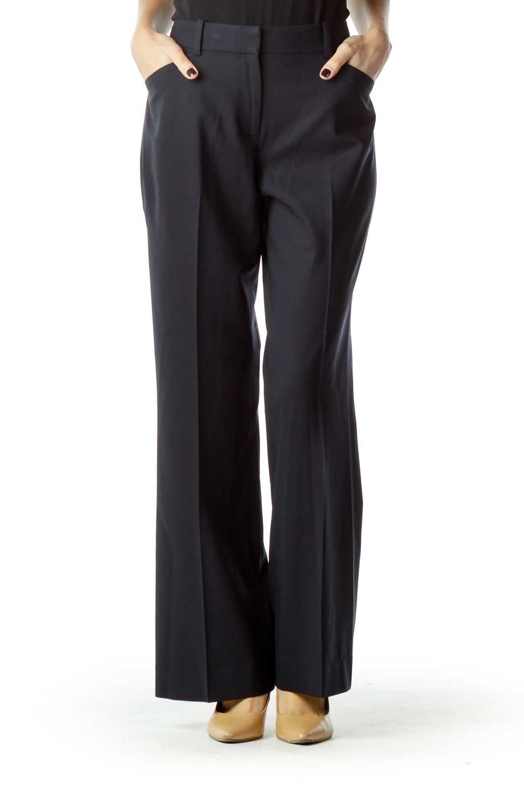 Navy Wool Straight Leg Slacks