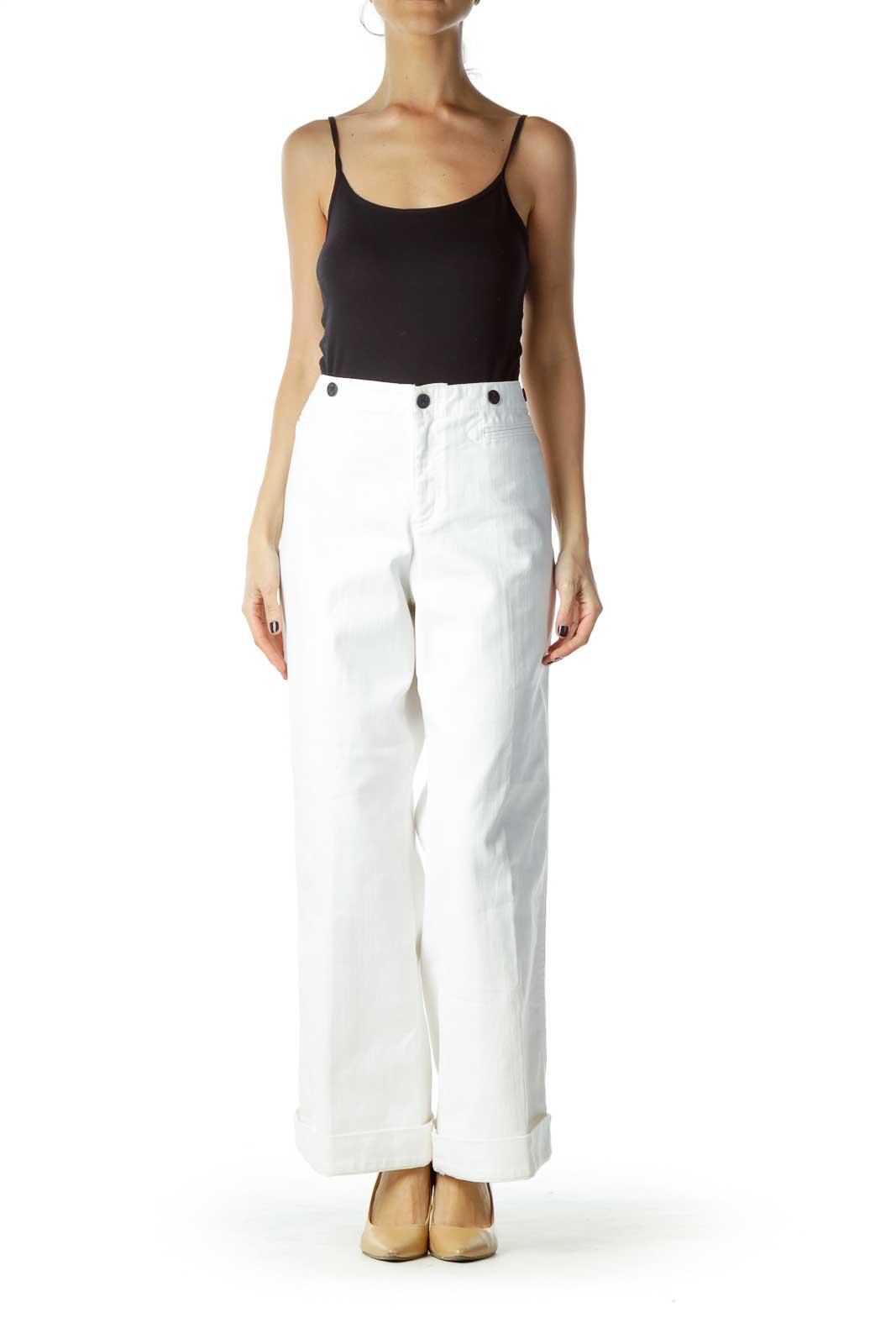 White Wide Leg Cropped Jean