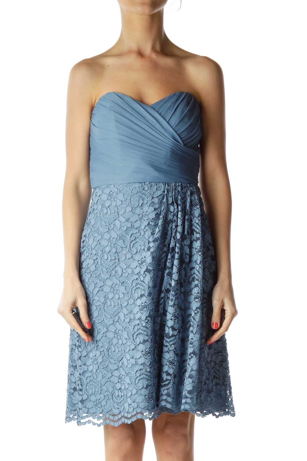 Blue Sweetheart Neck Lace Cocktail Dress