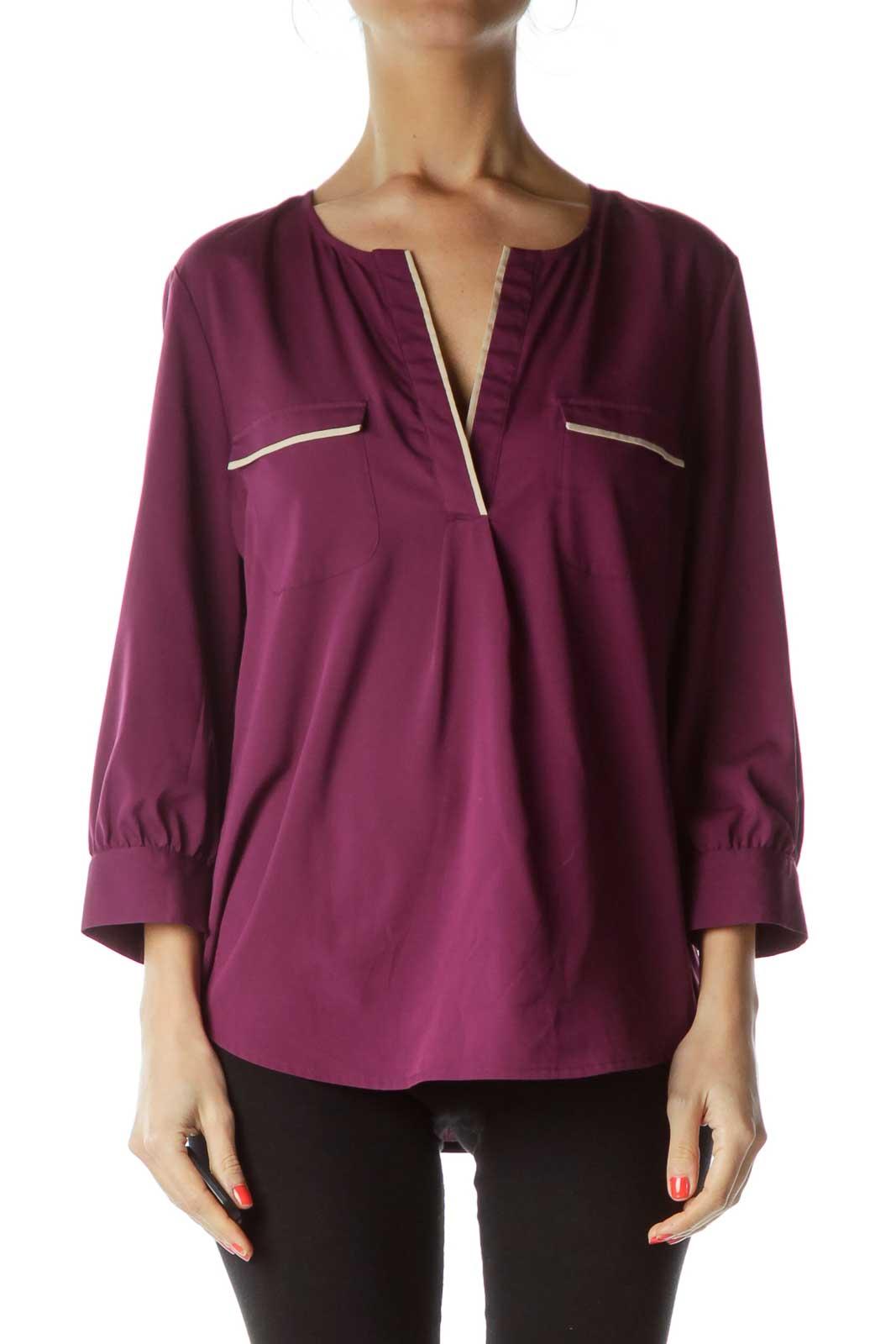 Purple Biege Pocketed Blouse