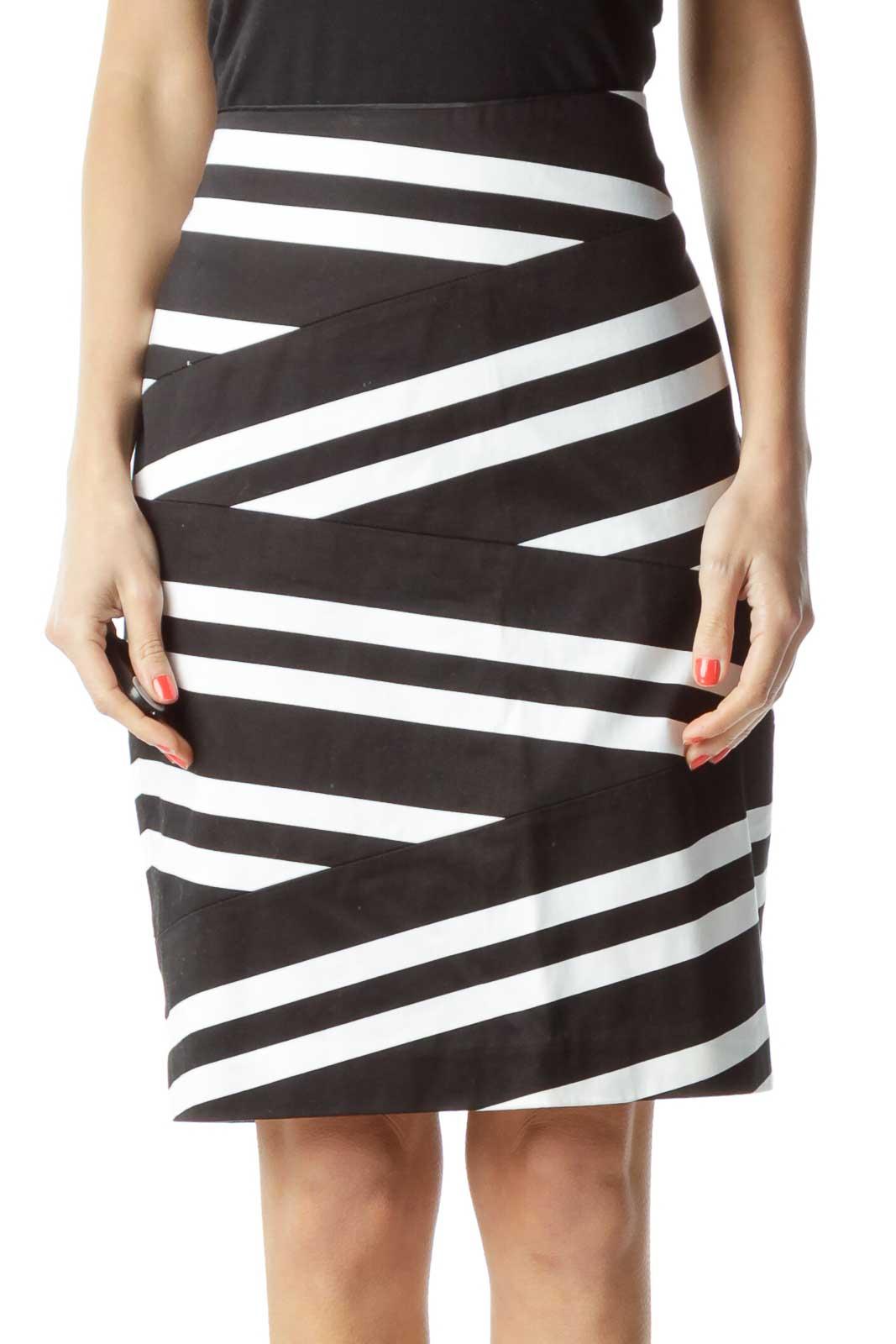 Black White Striped Pencil Skirt