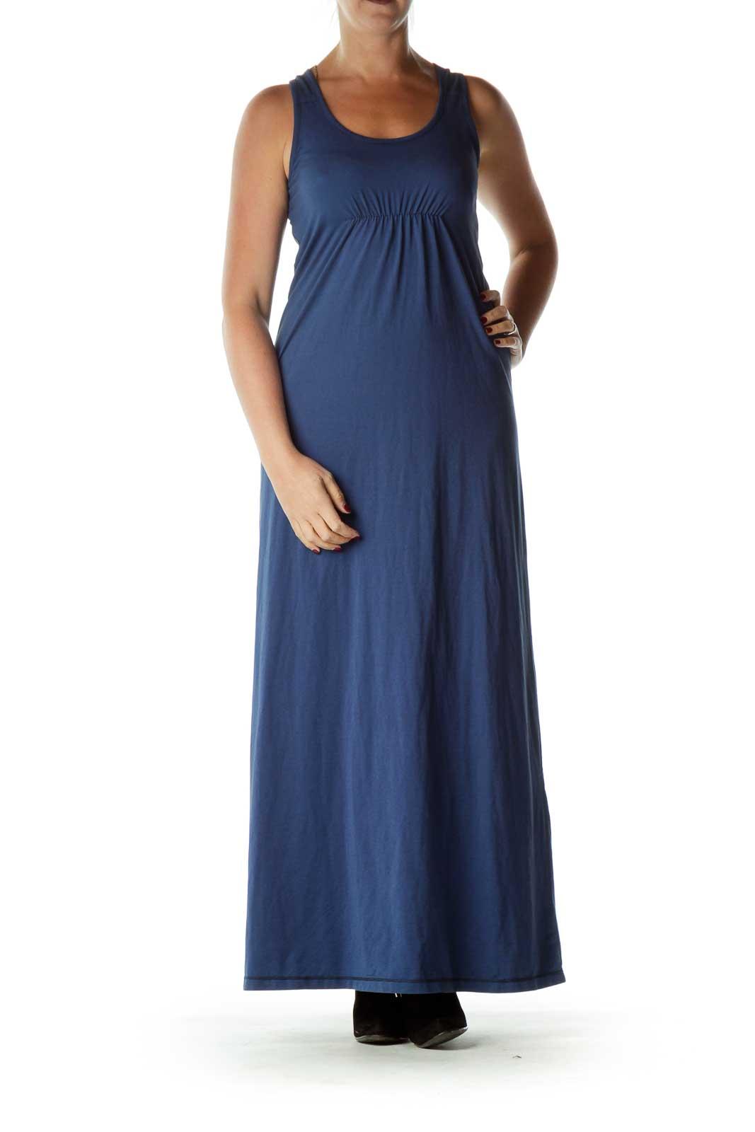 Blue Striped Racerback Maxi Dress