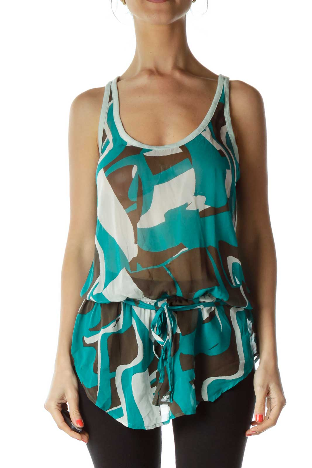 Green Brown Racerback Sleeveless Blouse