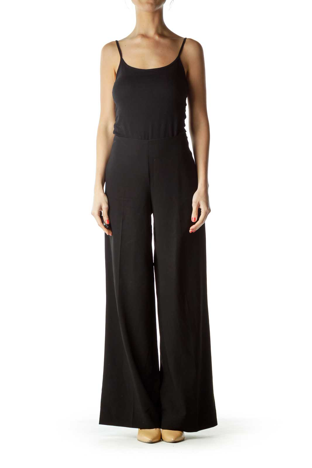 Black Wool Wide-Leg Slacks