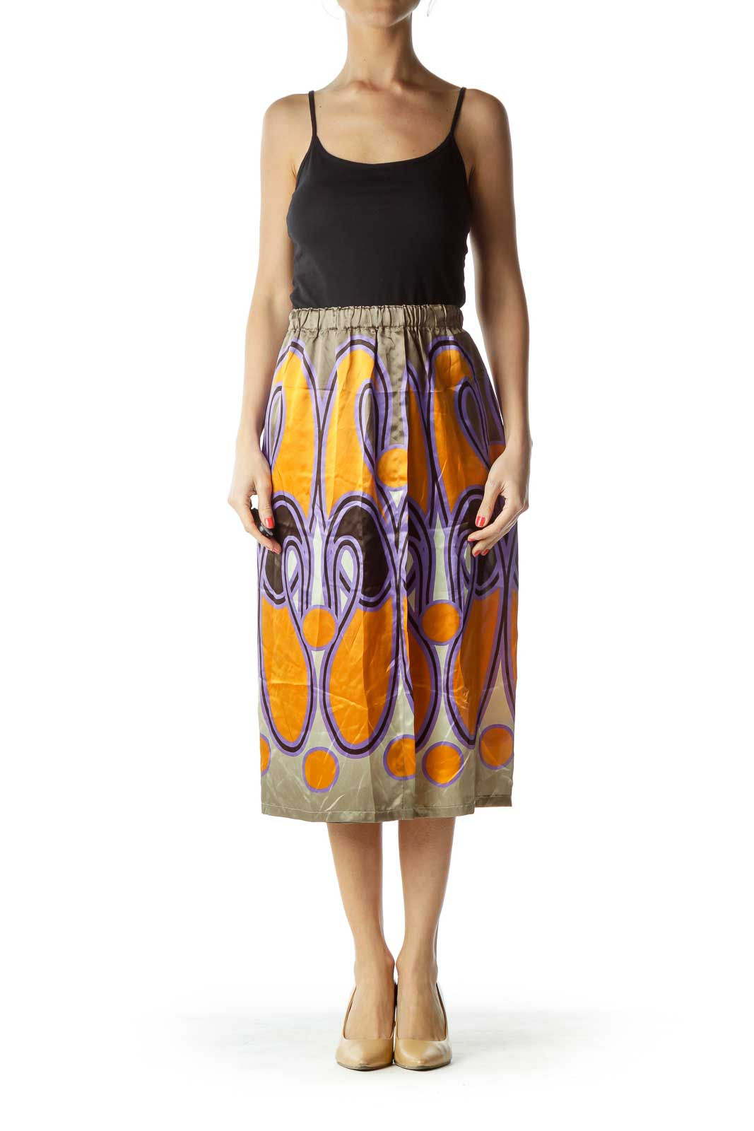 Green Print Silk Skirt with Slit