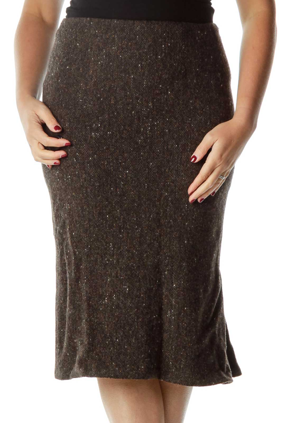 Brown Tweed Midi Skirt