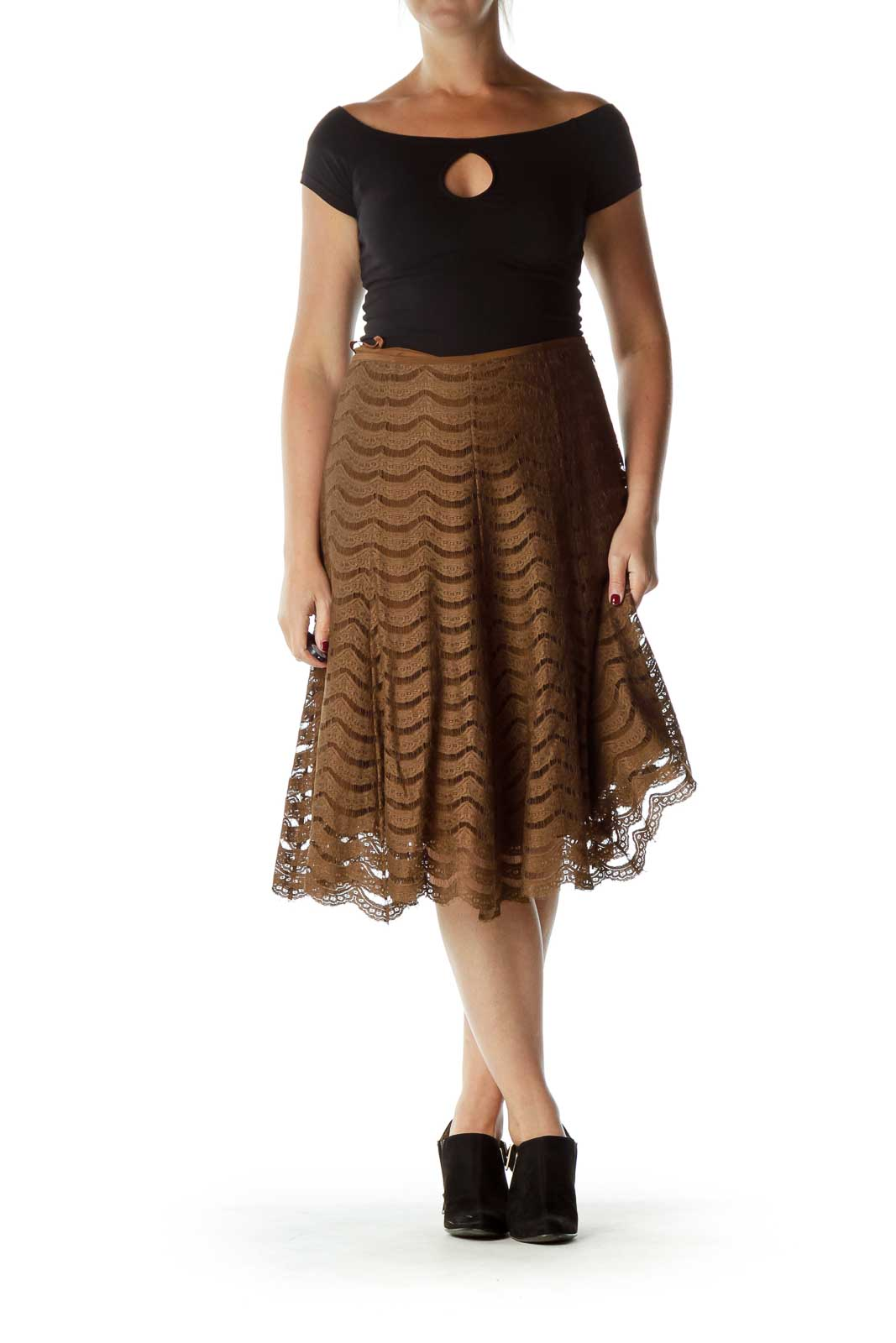 Brown A-Line Lace Skirt