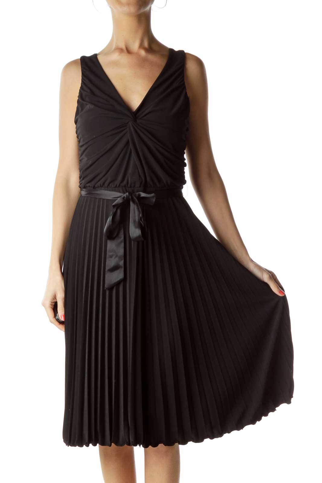 Black Pleated Sleeveless