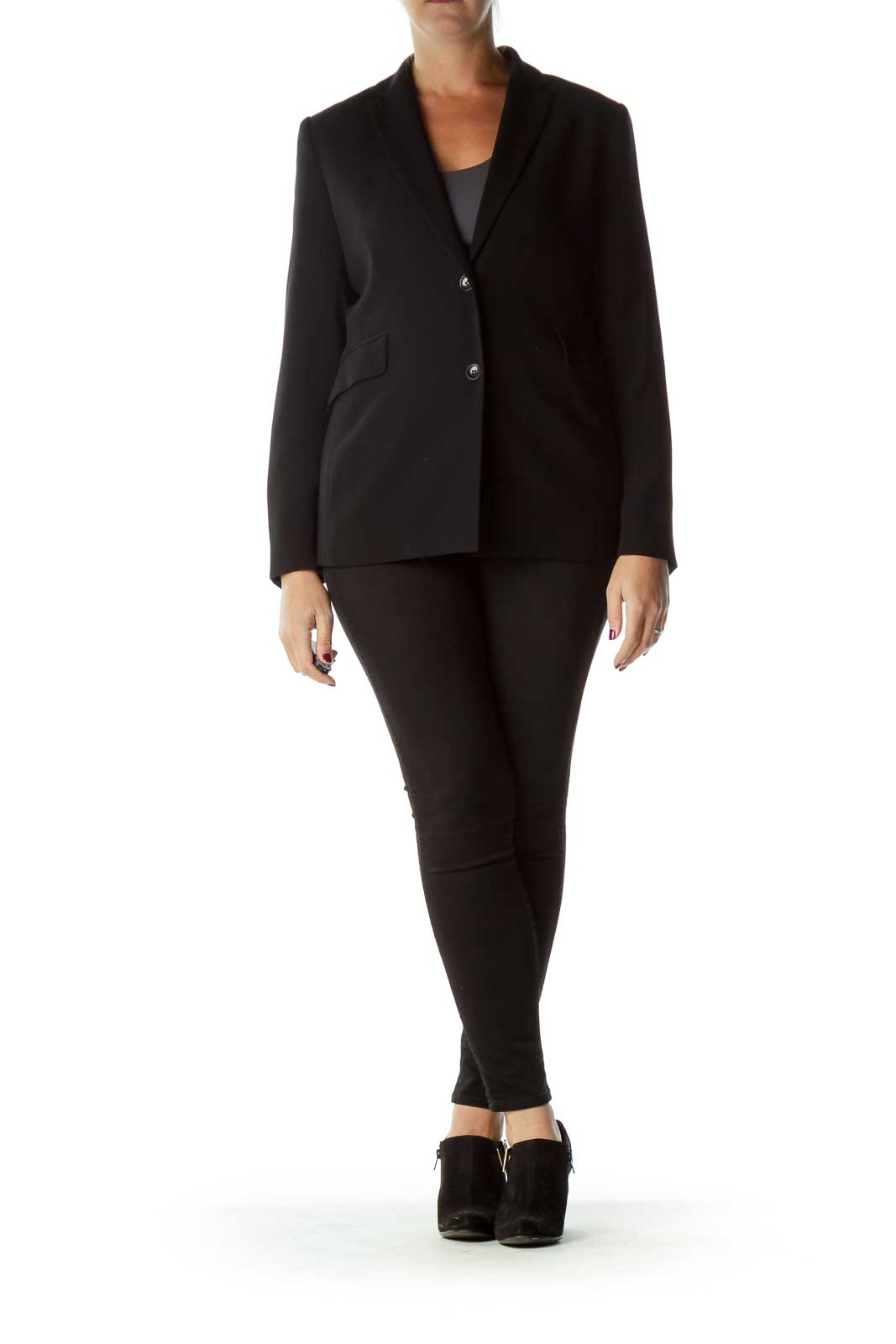 Black Buttoned Pocketed Blazer