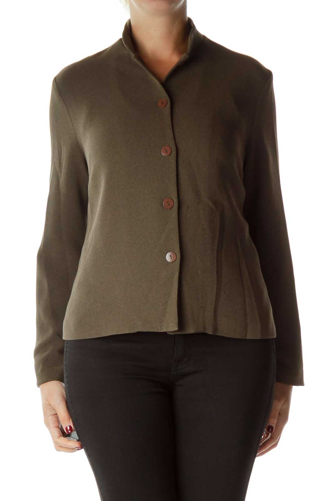 Brown Mottled Buttoned Blazer