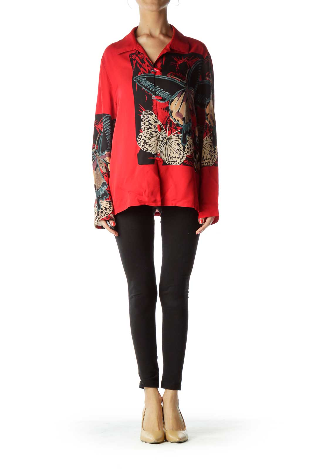 Red Printed Silk Blouse