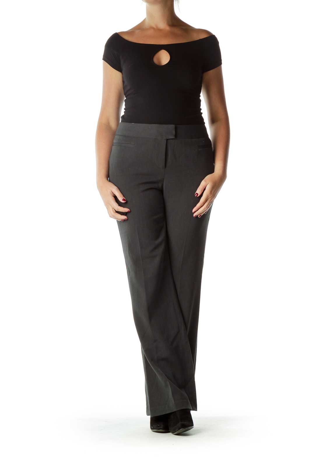 Gray Wide Leg Work Pant