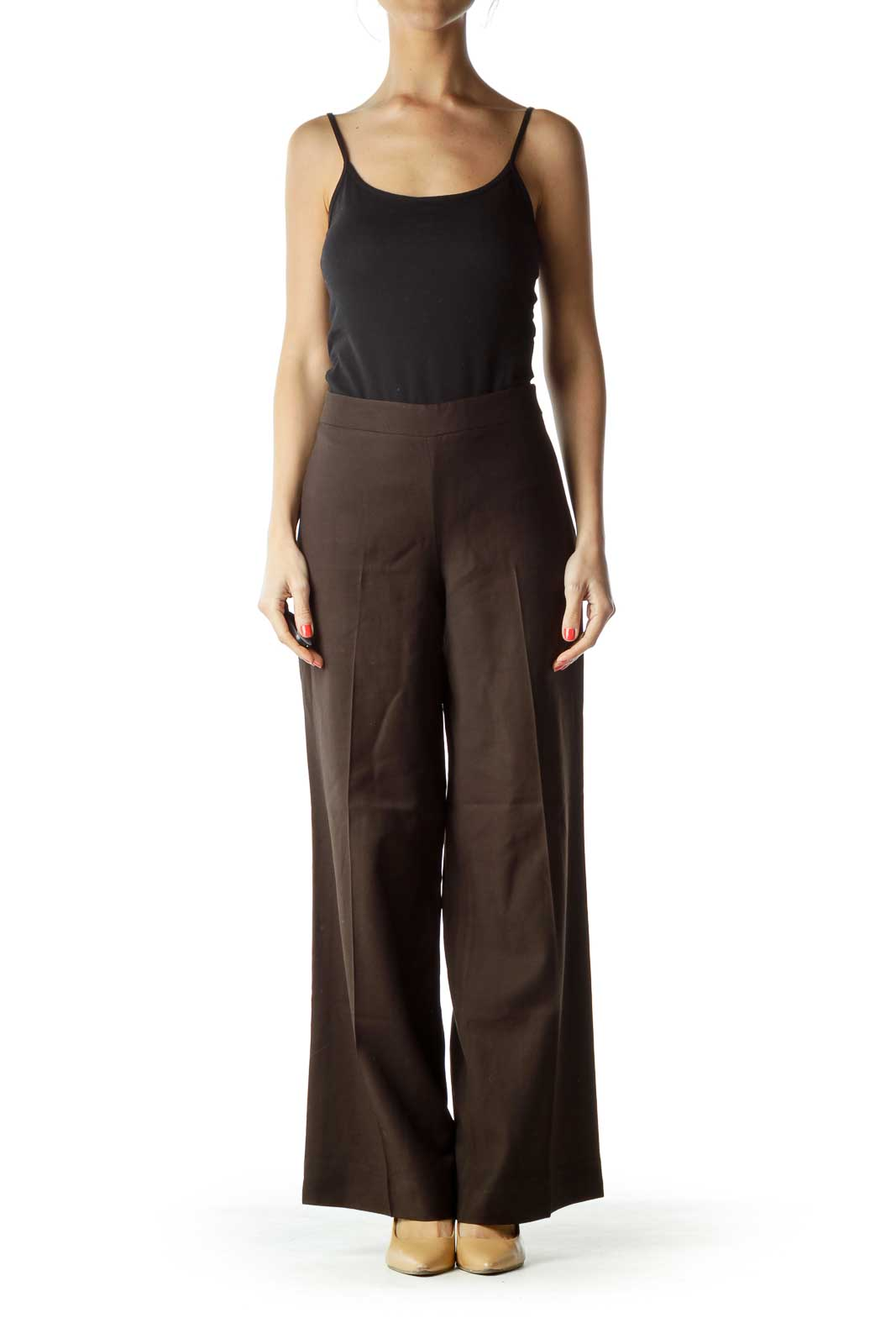 Brown Wide-Leg Work Pant