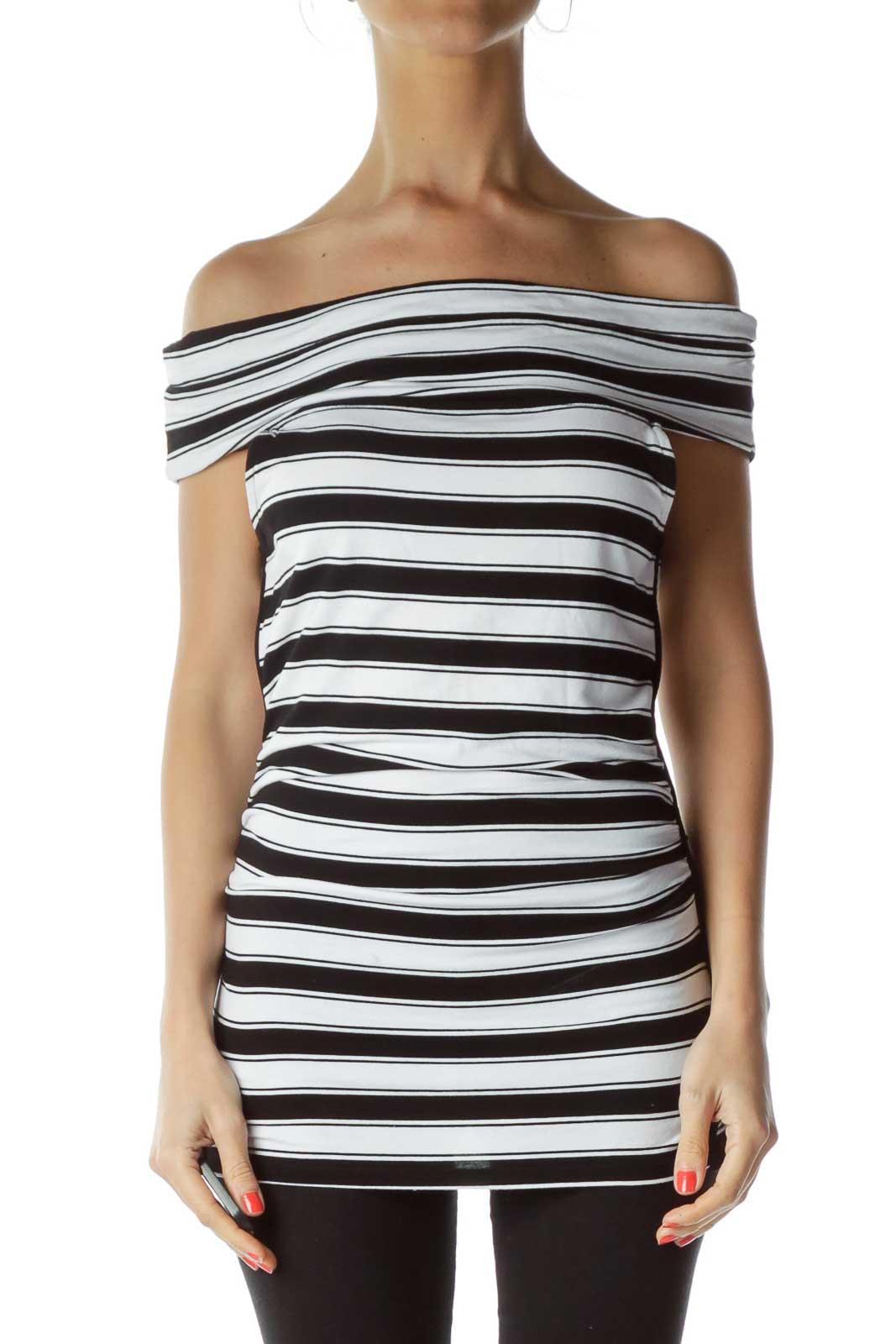 Black White Stripe Sleeveless Top