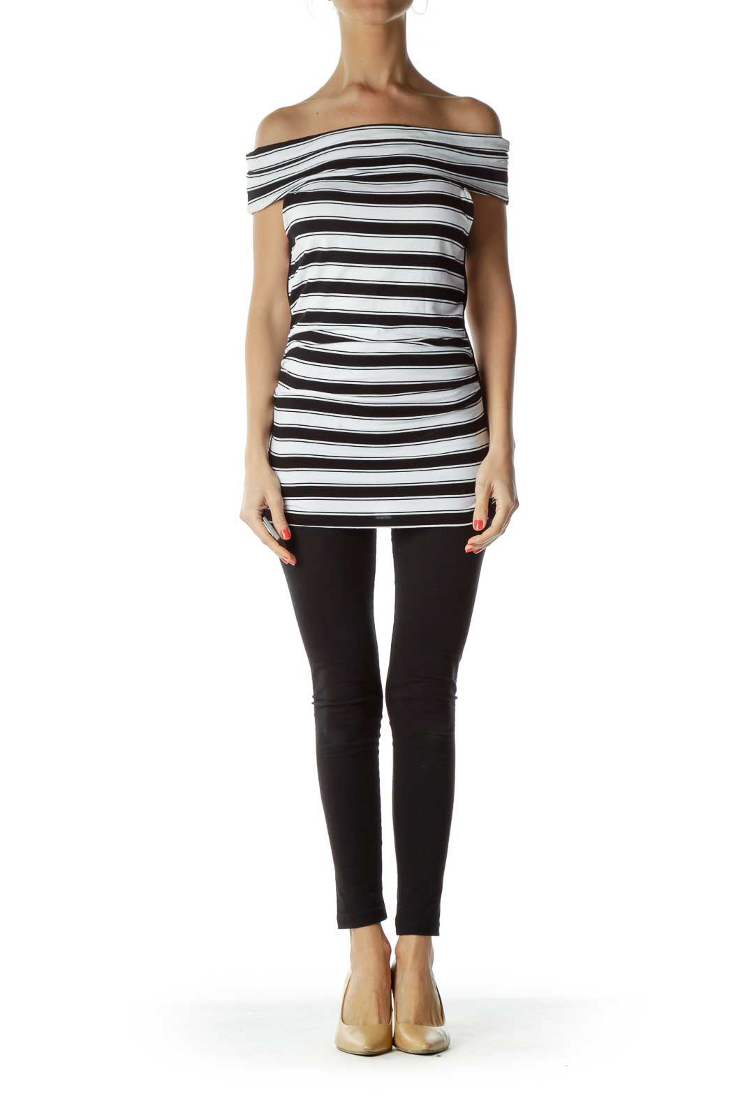 Black White Stripe Sleeveless Top