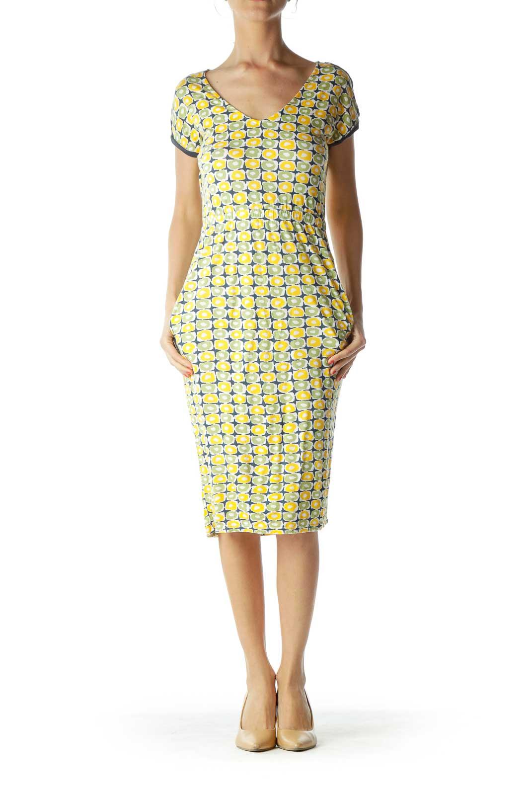 Yellow Green Jersey Knit Day Dress