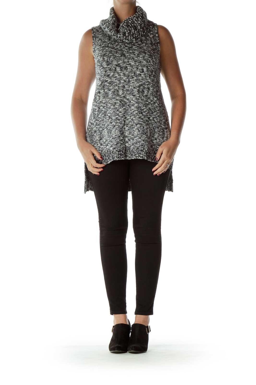Black White Mottled Cowl Neck Sleeveless Sweater