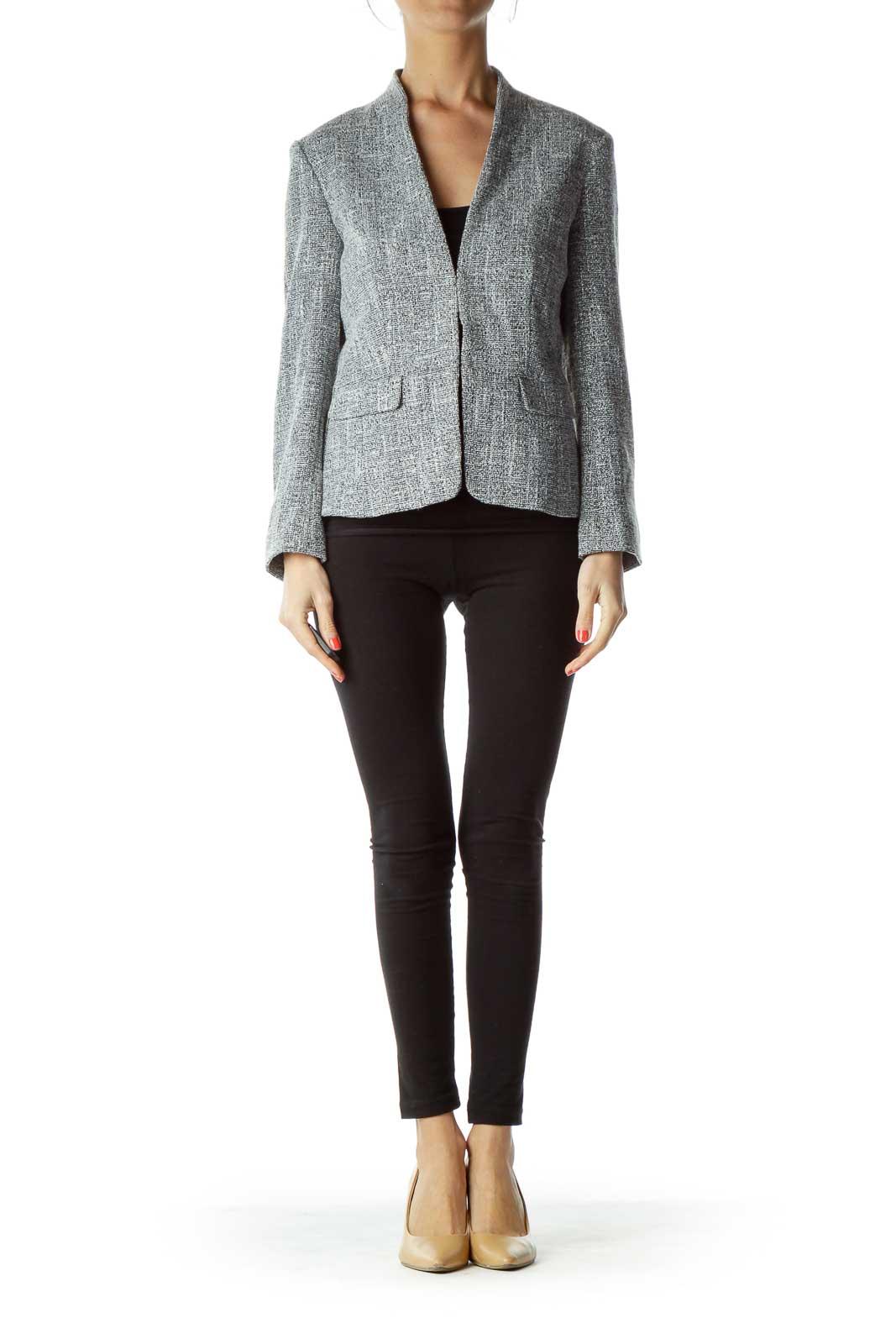 White Black Mottled Tweed Blazer