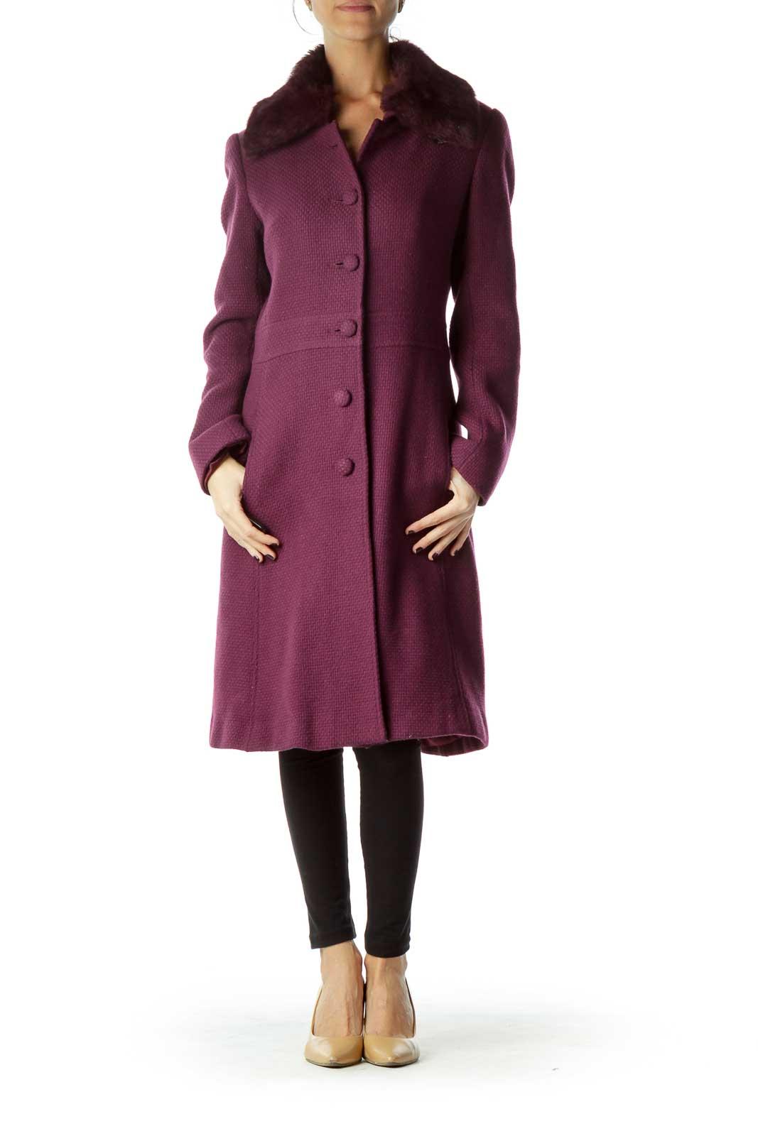 Purple Faux-Fur Collar Single Breast Coat