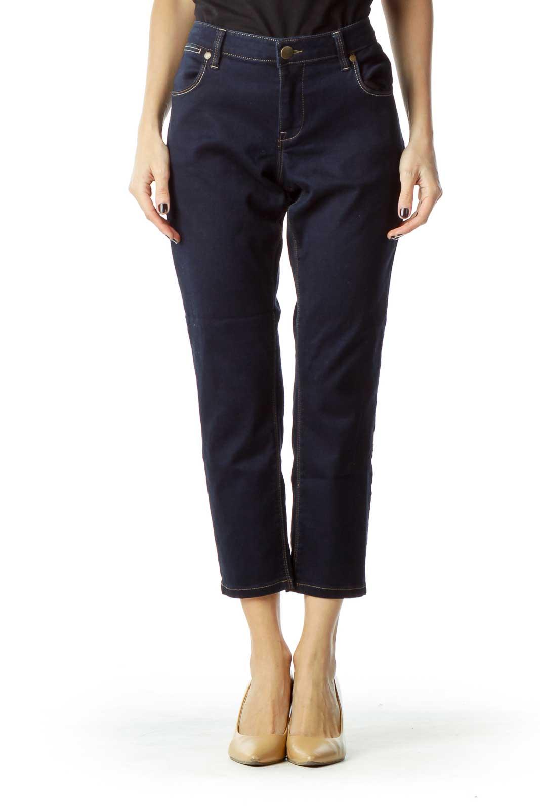 Dark Blue Cropped Jeans