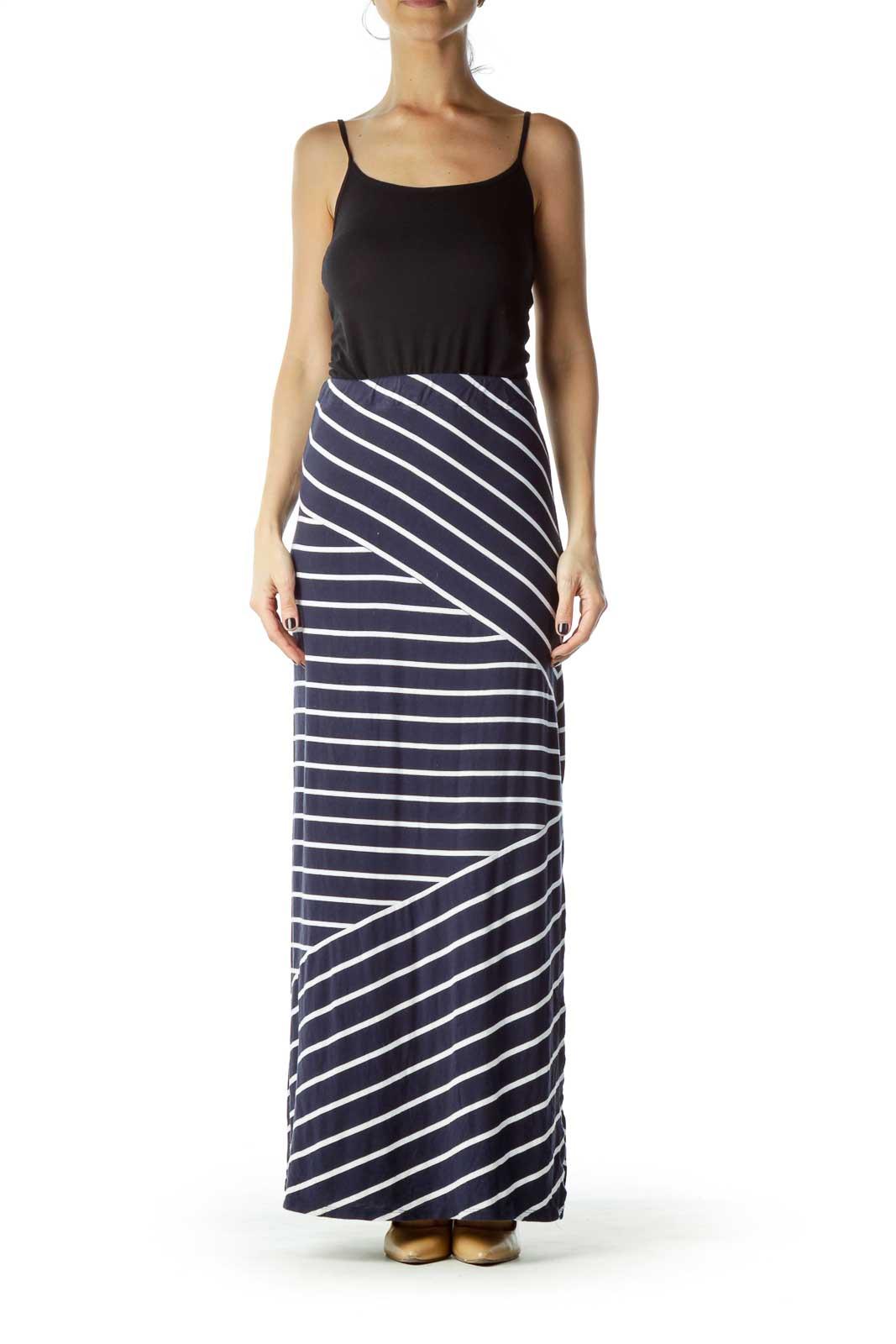 Navy White Stripe Maxi Skirt