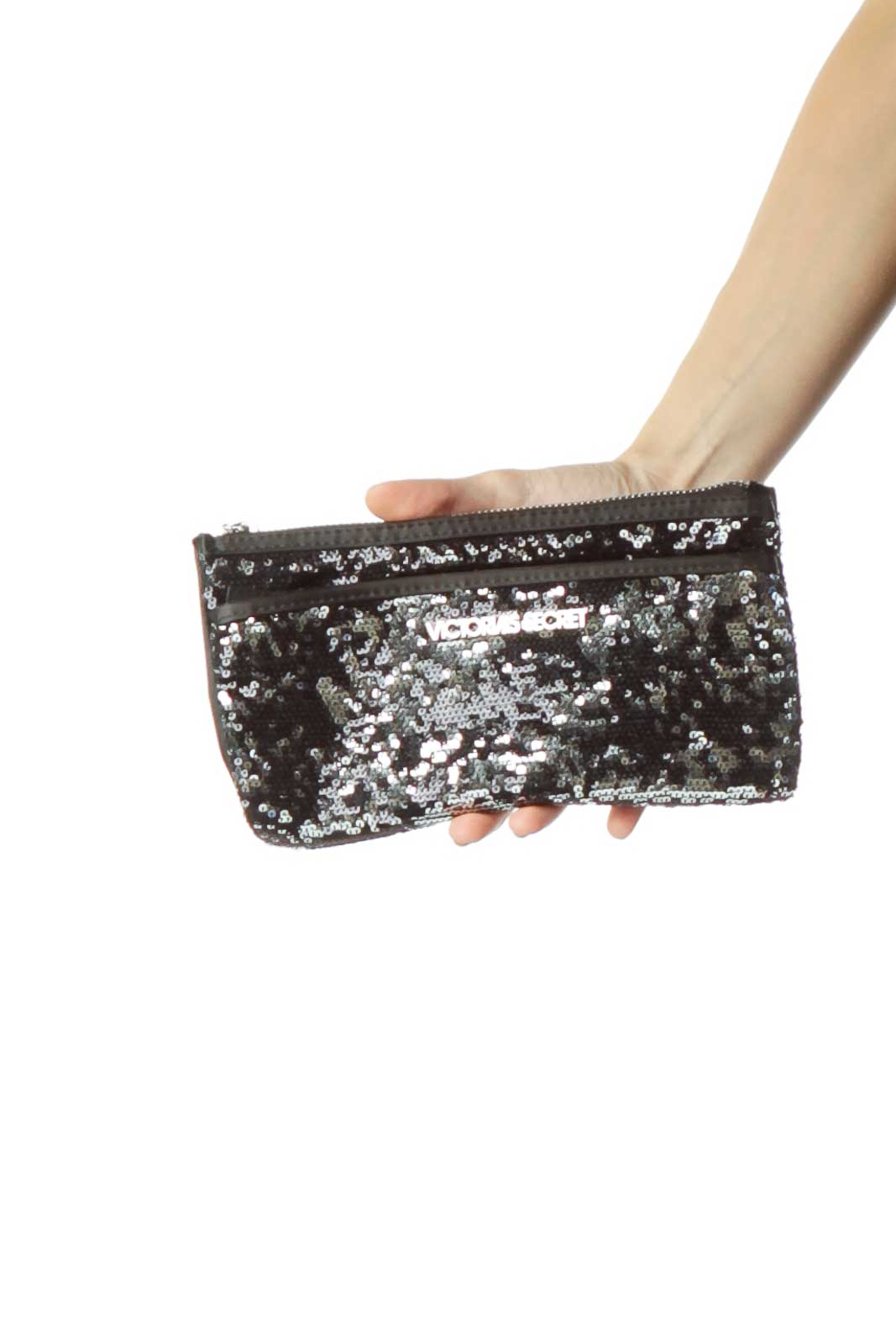 Black Silver Sequined Clutch