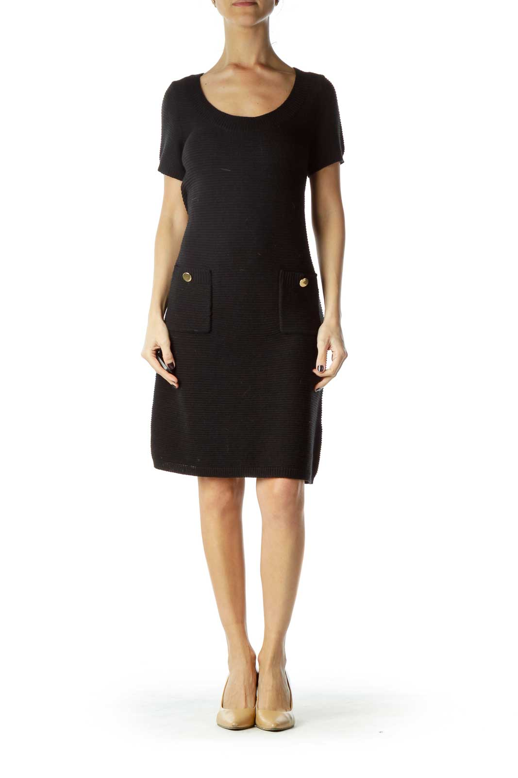 Black Gold Button Pocketed Knit Dress