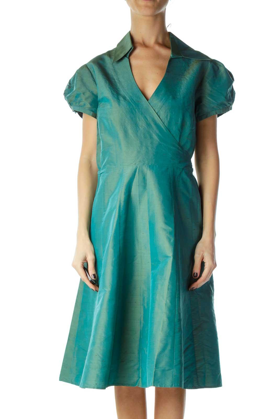 Blue Green Chrome Wrap Retro Dress