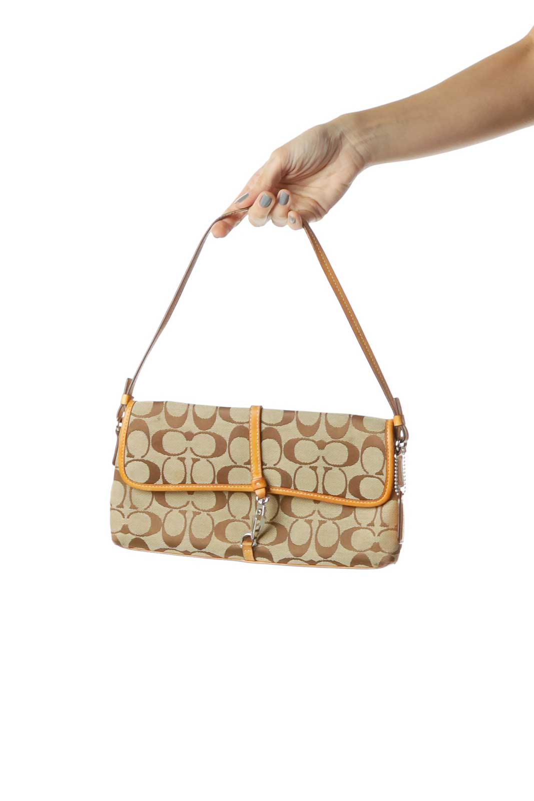 Brown Monogrammed Clutch with Strap