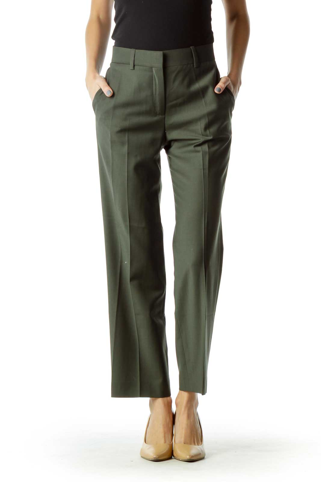Green Pocketed Zipper-Fly Slacks