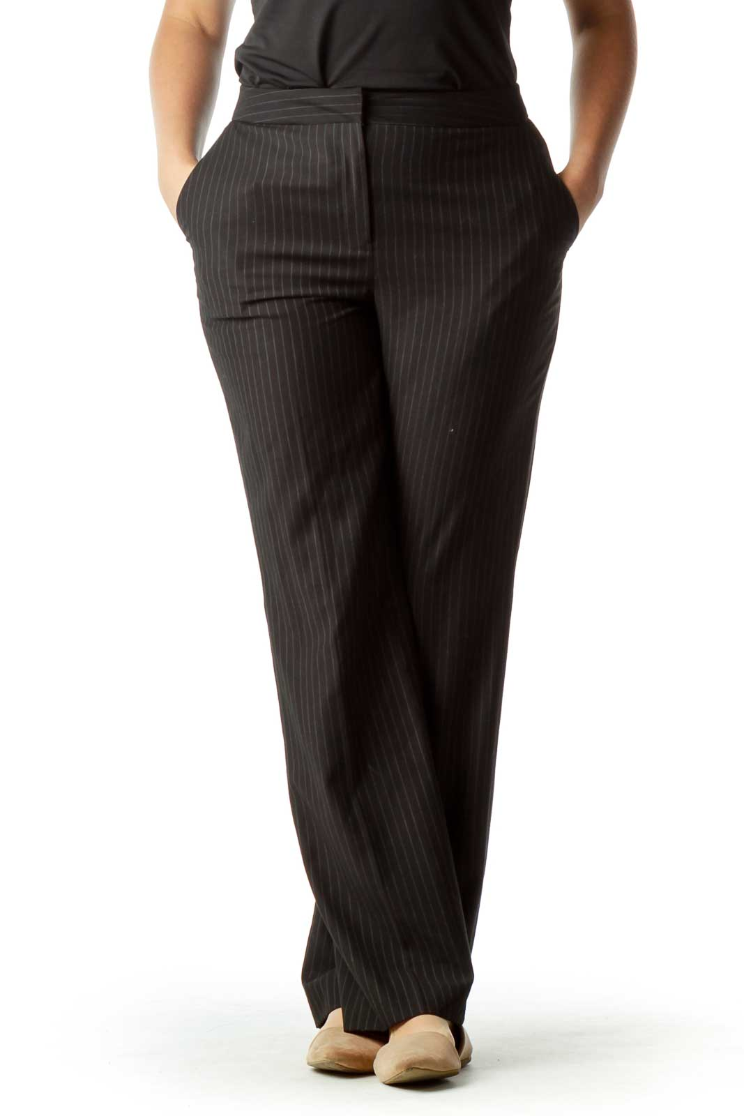 Gray Pinstripe Wide Leg Slacks