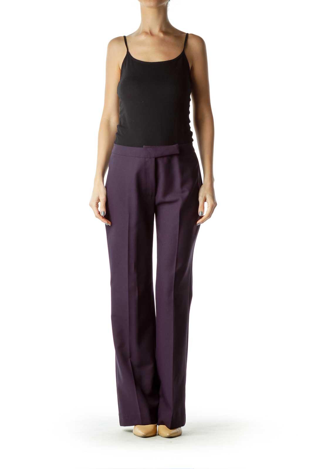 Purple Zipper-Fly Slacks