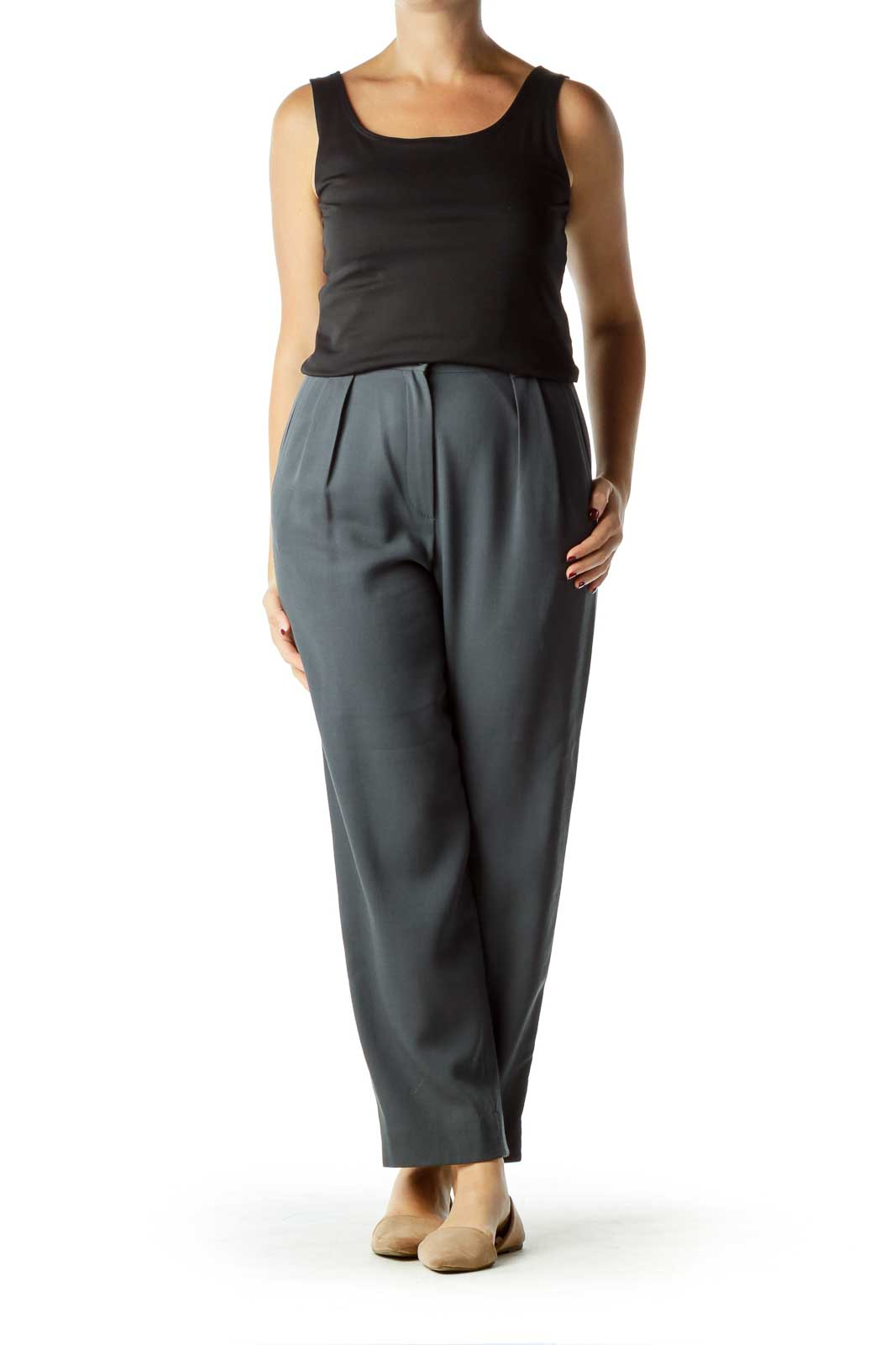 Gray High-Waisted Wool Pants