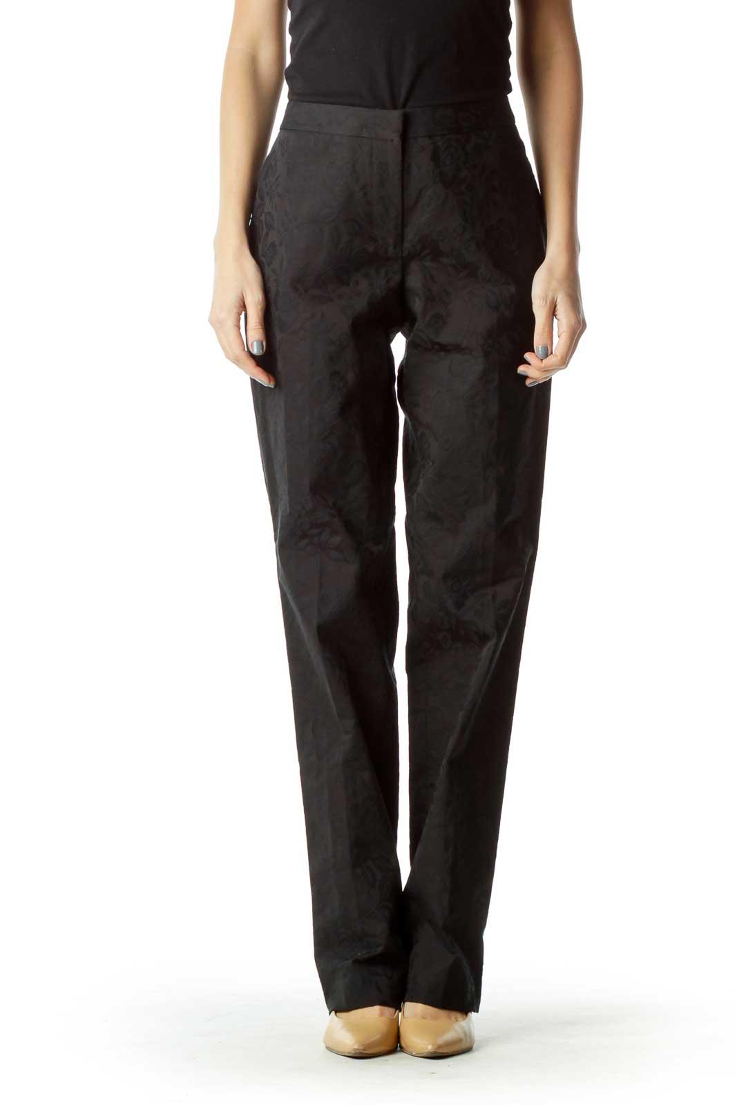 Black Floral Embossed Pants