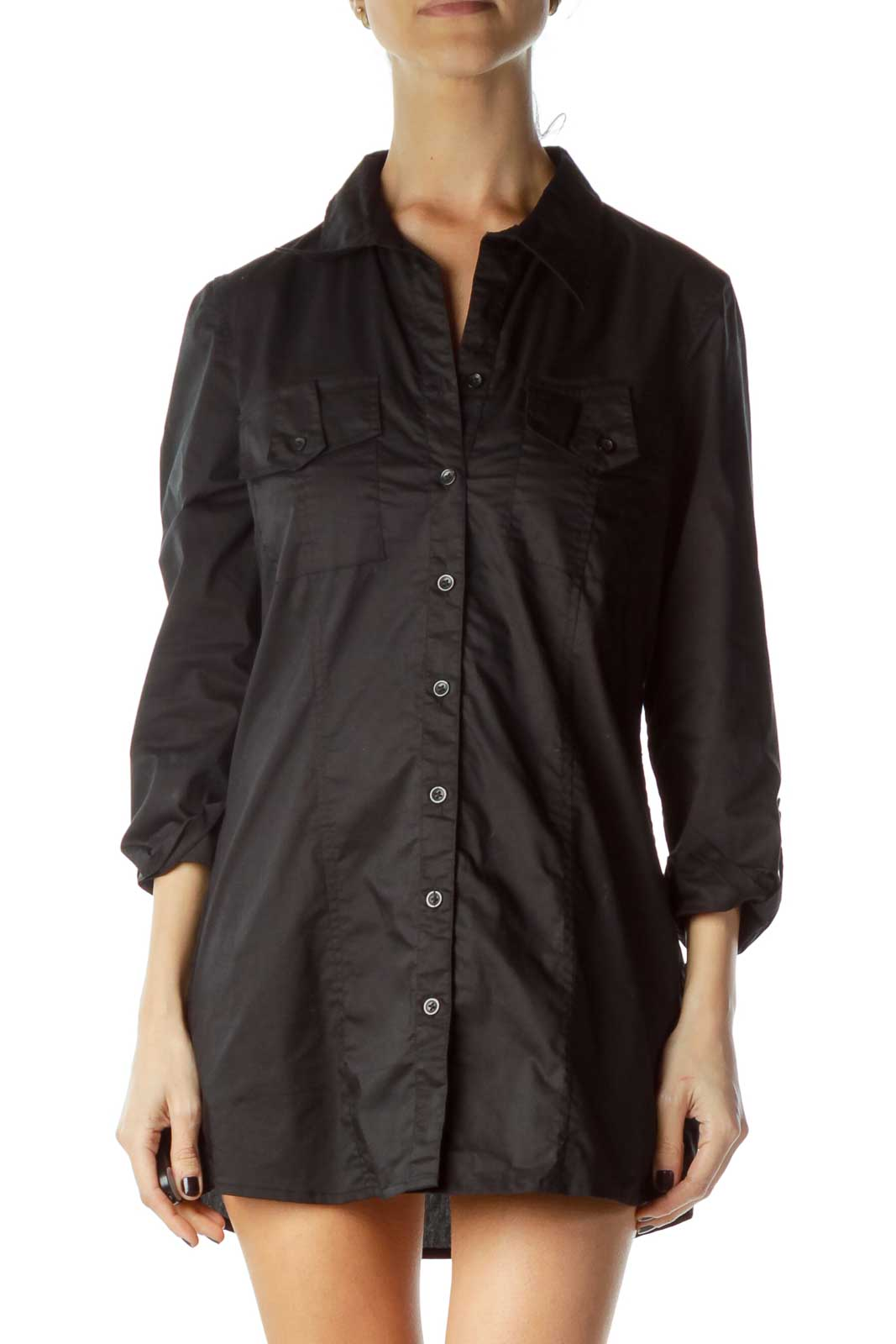 Black Fitted Pocketed Shirt Dress