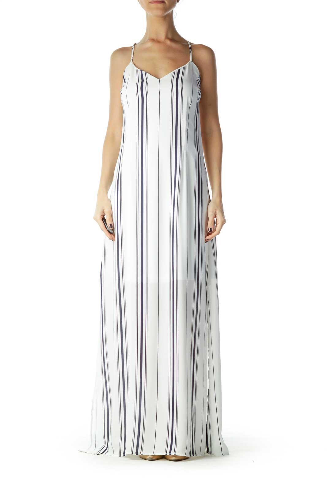 Blue White Striped Spaghetti Strap Maxi Dress