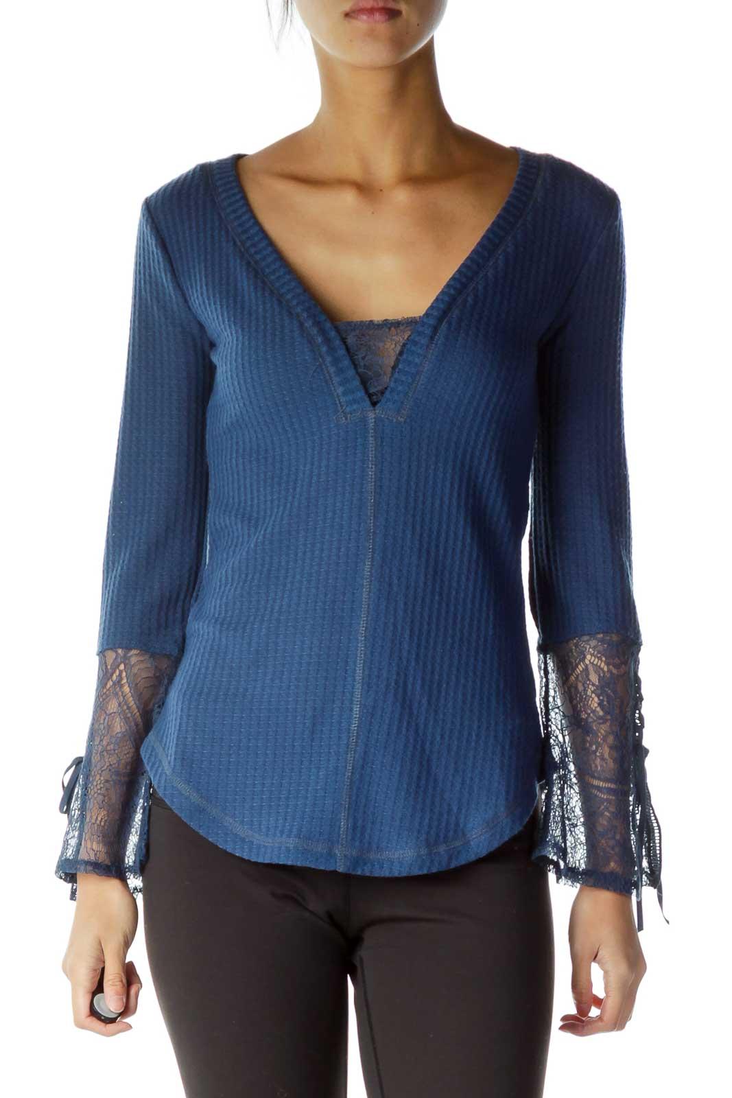 Blue Lace Sleeve Detail V-Neck Top